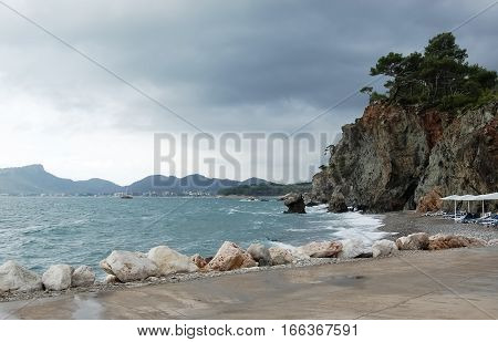 View on the beach and sea during a thunderstorm in Kemer on the Mediterranean coast of theTurkey.