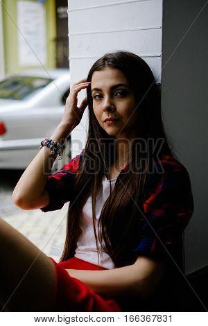 Cute Long Hair Girl With Mole On Face