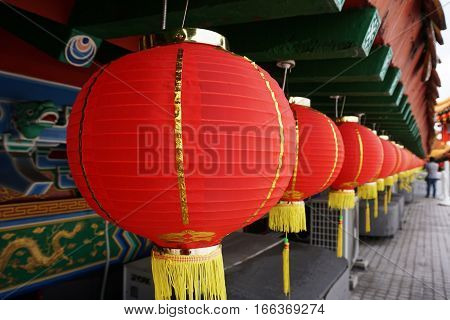 Red Chinese Paper Lanterns during month of Chinese New Year in Thean Hour Temple, Kuala Lumpu, Malaysia.
