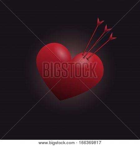 Red heart impaled by three arrows. Vector illustration