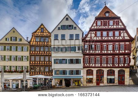 Historical houses on square in Tubingen city center Germany