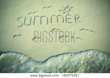 Vintage Inscription Summer On Sand