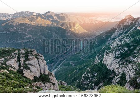 Spain. Barcelona.  Beautiful evening view of the mountains of Montserrat. Multi-peaked rocky range