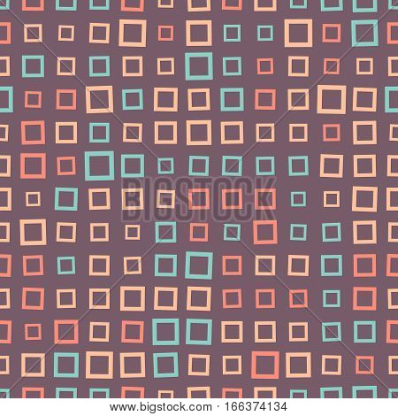 Abstract Seamless Pattern Of Squares In Bright Colors.