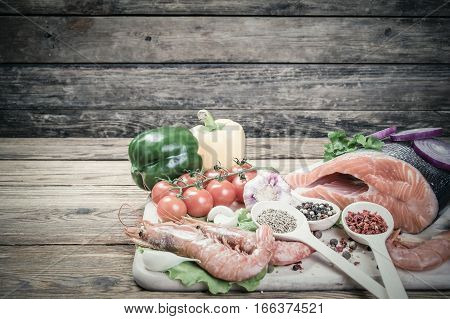 Vintage Background With Fish And Shrimps