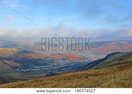 Cwmparc from Bwlch y Clawdd in Wales