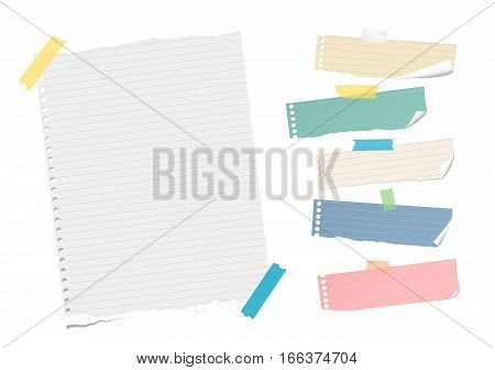 Ripped ruled colorful note, notebook, copybook paper sheet, strips stuck with sticky tape on white background.