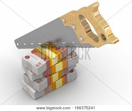Cutting funding. Stack of packs of 5000 Russian rubles banknotes tied with a ribbon and sawn with a hacksaw. Isolated. 3D Illustration