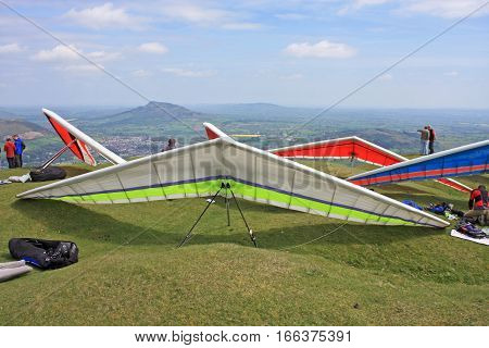 Hang Gliders prepared for launch on the Blorenge
