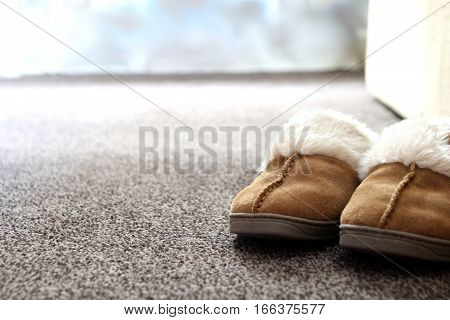 Generic Ladies Suede Slippers On Carpet Next To Sofa In A Nice Living Room.  Copy Space For Text.