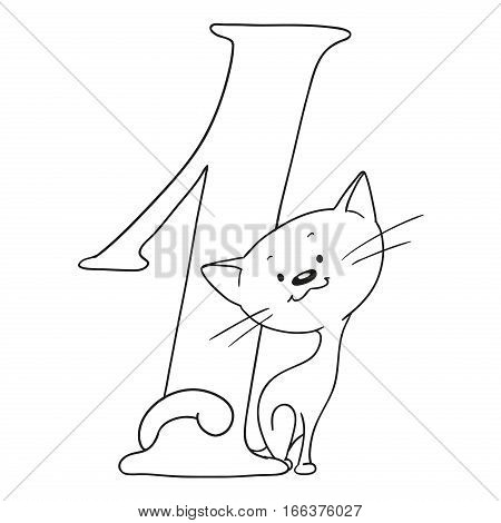 Number one. Cartoon animals and signs. Numeral and kitten. Vector isolated coloring book.