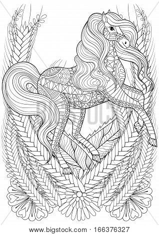 Racing horse in flowers adult anti stress coloring page. Hand drawn zentangle animal for colouring, book cover, art therapy, greeting card, t-shirt print, patterned ethnic decoration elements. A4 size.