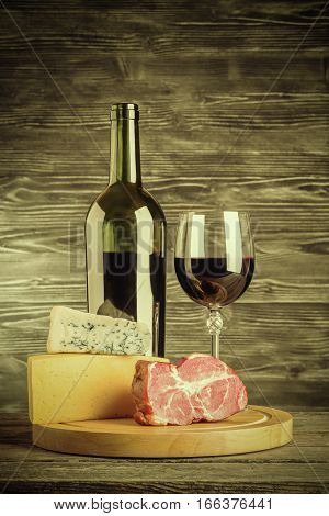 Vintage Wine, Cheese And Meat