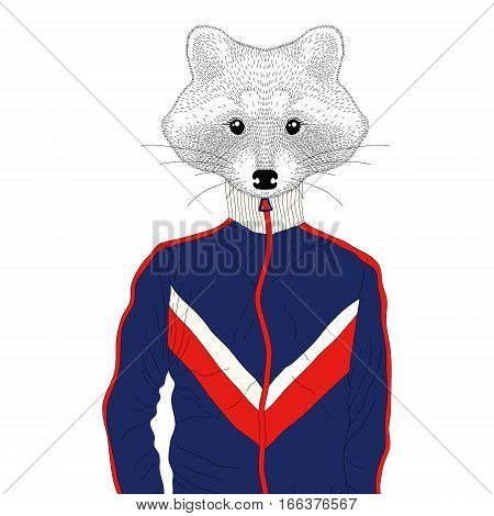 Vector anthropomorphic raccon boy in sports jackets 90s. Hand drawn animal cartoon, cheerful fashion bunny in sportwear, illustration for t-shirt print, kids greeting card, invitation for party.