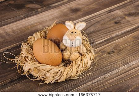 Rabbit (bunny) and Easter Egg on a dark wooden background
