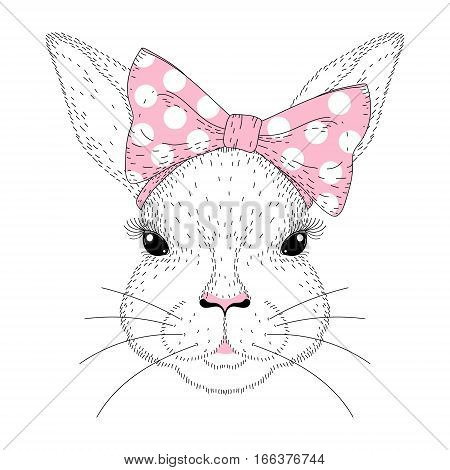 Vector cute bunny portrait. Hand drawn fashion rabbit girl face with pink pin up bow tie on head. Animal illustration for t-shirt print, kids greeting card, invitation for party, Happy Easter symbol.