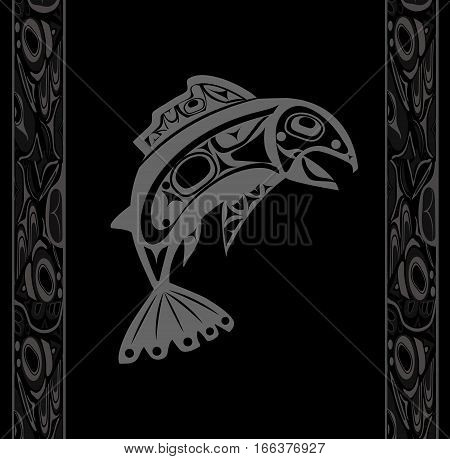 Native fish Vector isolated on black background with native white ornament