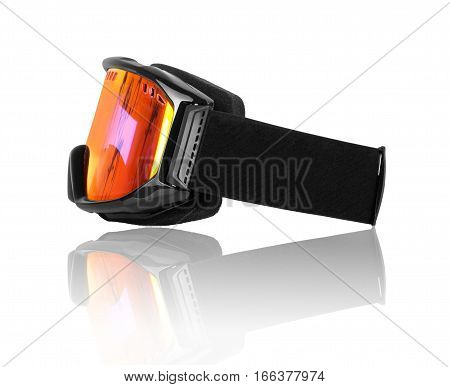 Snowboard mask closeup isolated on white background. Side view