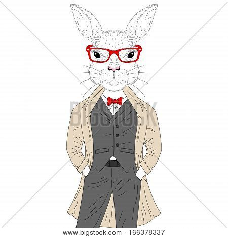 Vector cute rabbit boy in elegant suit with coat, glasses. Hand drawn anthropomorphic animal cartoon, cheerful fashion bunny hipster, illustration for t-shirt print, greeting card, party invitation.