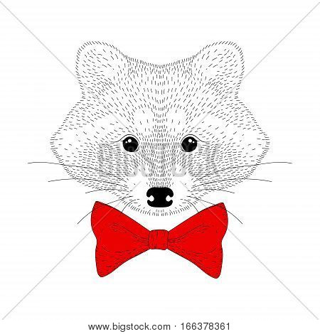Vector cute cheerful fashion raccoon portrait. Hand drawn hipster anthropomorphic animal head with red bow tie, illustration for t-shirt print, kids greeting card, invitation for party.