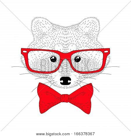 Vector cute cheerful fashion raccoon portrait. Hand drawn hipster anthropomorphic animal head with red bow tie, glasses. Illustration for t-shirt print, kids greeting card, invitation for party.