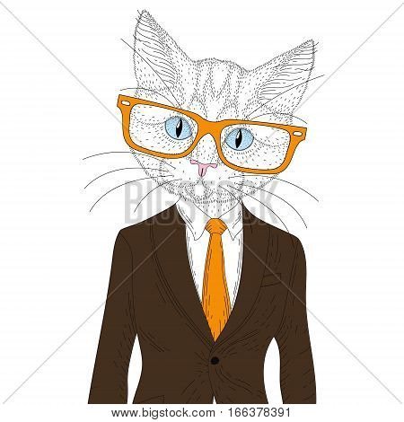 Vector cute cat boy in elegant suit with glasses. Hand drawn anthropomorphic animal cartoon, fashion hipster pet, illustration for t-shirt print, kids greeting card, invitation for luxury party.