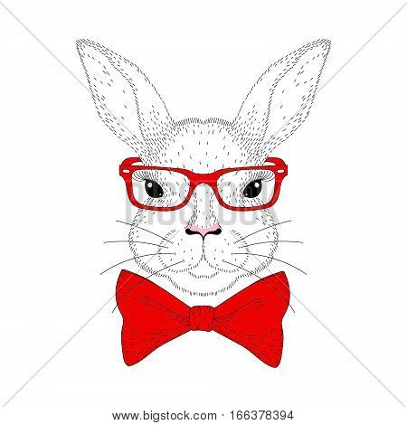 Vector cute bunny portrait. Hand drawn rabbit head with red bow tie, hipster glasses. Animal illustration for fashion t-shirt print, kids greeting card, invitation for party, Happy Easter symbol.