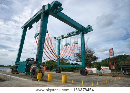June 11 2016 Portobelo Panama: boat hoist station in a small port used by tourist boats