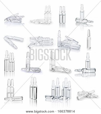 set of medical ampoules isolated on white background