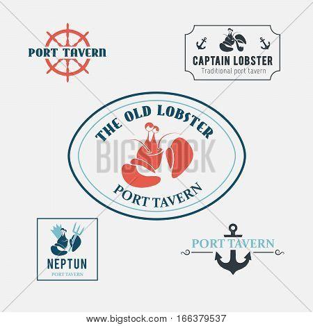Original emblems for seafood restaurant or tavern. labels and design elements