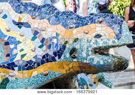 Multicoloured Mosaic Dragon Fountain In The Park Guell. Barcelona, Spain.