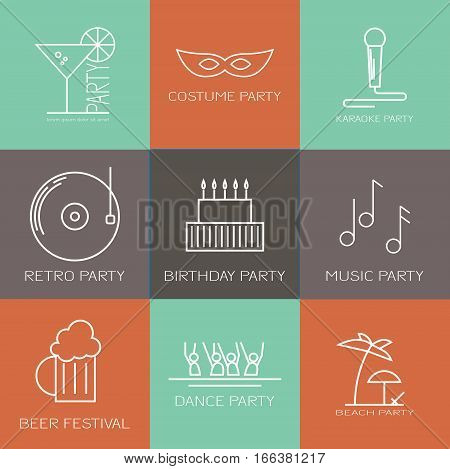 Modern icon set of different kinds of parties. Costume party, karaoke party, retro party, birthday party, music party, dance party, beach party, beer festival