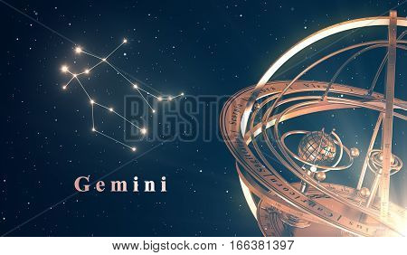 Zodiac Constellation Gemini And Armillary Sphere Over Blue Background. 3D Illustration.