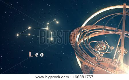 Zodiac Constellation Leo And Armillary Sphere Over Blue Background. 3D Illustration.