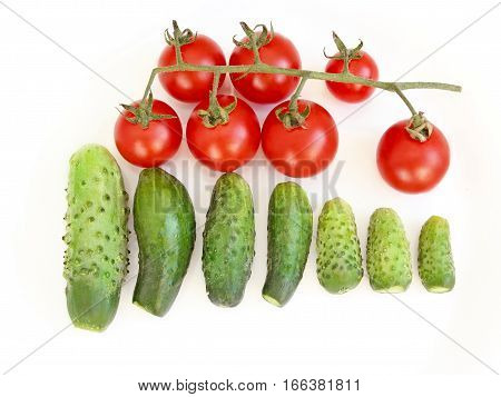 fresh cucumbers and branch of red tomatoes isolated on the white