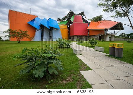June 13, 2016 Panama City, Panama: the colourful modern building of Biomuseum