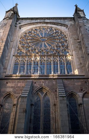 Saint-Malo cathedral and rose window, Bretagne France
