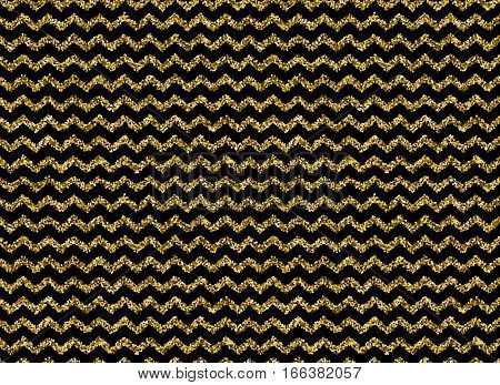 Gold glitter dots zigzag pattern on black background. Zigzag line with sparkly dots, stripe of zig zag glitter, vector illustration