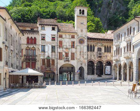 Vittorio Veneto, Italy, 28th June 2016: City centre of Vittorio Veneto Treviso province with Loggia Serravalle