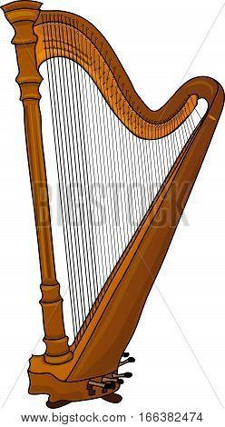 A wooden harp. A classical music instrument.