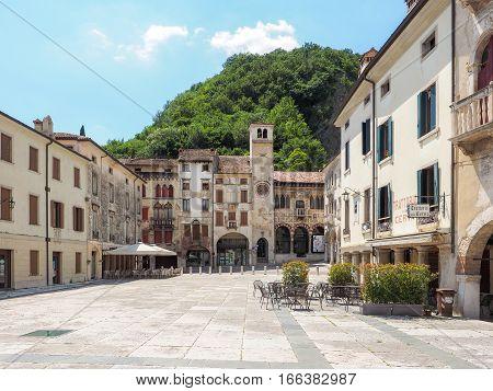 Vittorio Veneto, Italy, 28th June 2016: City centre of Vittorio Veneto Treviso province with Loggia Serravalle.