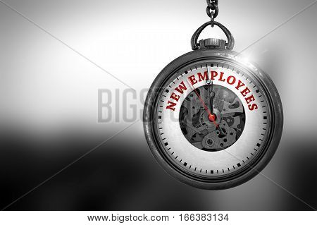 New Employees Close Up of Red Text on the Vintage Pocket Clock Face. Vintage Watch with New Employees Text on the Face. 3D Rendering.