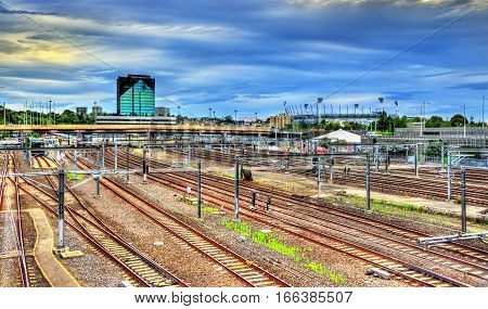 View of Flinders Street railway station in Melbourne - Australia, Victoria