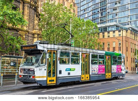 Melbourne, Australia - December 28, 2016: Comeng A1 Class tram on La Trobe Street. Melbourne tram system is the largest urban tramway network in the world