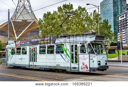 Melbourne, Australia - December 29, 2016: Comeng Z3 Class tram on St Kilda Road. Melbourne tram system is the largest urban tramway network in the world