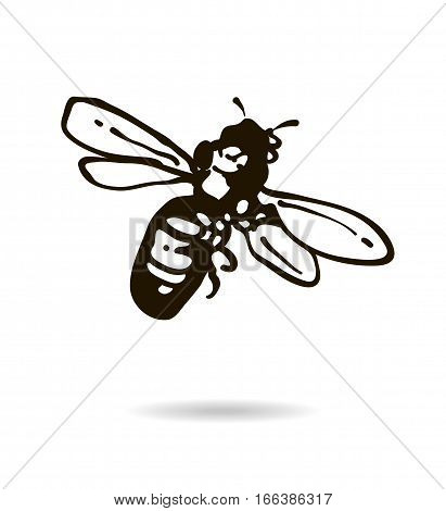 Bee icon isolated on white background for your design. Vector illustration