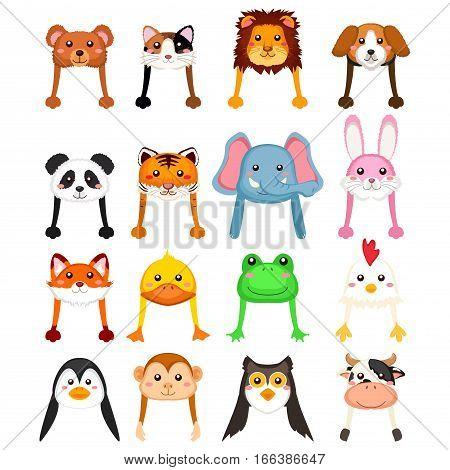 A vector illustration of Animals Cartoon Hat