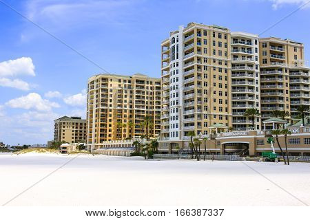 Clearwater, FL - April 21: Beachfront Hotels along Clearwater beach in Florida