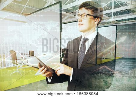 Handsome businessman with tablet on stock chart background. Economy concept. 3D Rendering