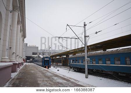 MINSK, BELARUS - January 11, 2017. railway station in Minsk in the winter. belarussian train.